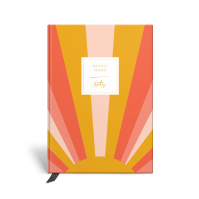 Original Life Personalised Notebook Sunrise Mustard Yellow Coral Blush Pink Gold Foil Sustainable Eco friendly