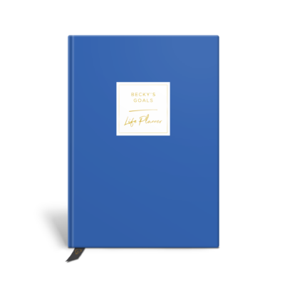 Original Life Personalised Planner Goal Dream Productivity Wellness Wellbeing Solo Cornflower Blue Gold Foil Sustainable Eco friendly