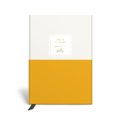 Original Life Personalised Notebook Duet Mustard Gold Foil Sustainable Eco Friendly