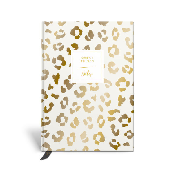 Original Life Personalised Notebook Leopard Print Stone Gold Foil Sustainable Eco Friendly