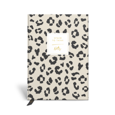 Original Life Personalised Notebook Leopard Print Stone Charcoal Black Gold Foil Sustainable Eco Friendly