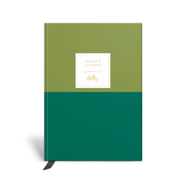 Original Life Personalised Notebook Duet Meadow Green Gold Foil Sustainable Eco Friendly