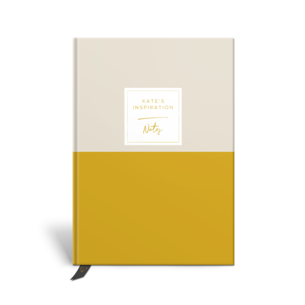 Original Life Personalised Notebook Duet Stone Mustard Yellow Gold Foil Sustainable Eco Friendly