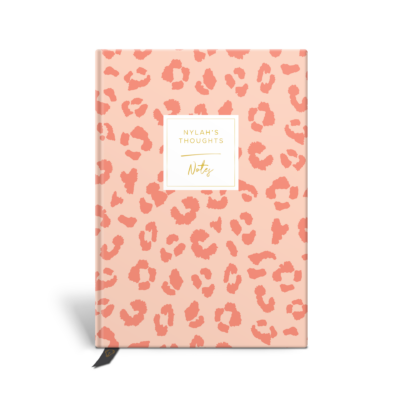Original Life Personalised Notebook Leopard Print Blush Pink Gold Foil Sustainable Eco Friendly