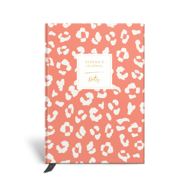 Original Life Personalised Notebook Leopard Print Coral Gold Foil Sustainable Eco Friendly