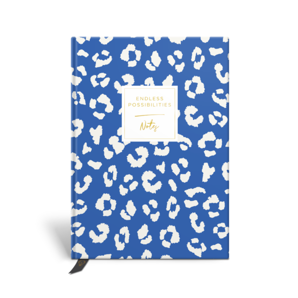 Original Life Personalised Notebook Leopard Print Cornflower Blue Gold Foil Sustainable Eco Friendly