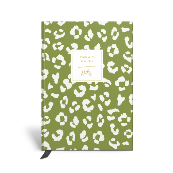 Original Life Personalised Notebook Leopard Print Meadow Green Gold Foil Sustainable Eco Friendly