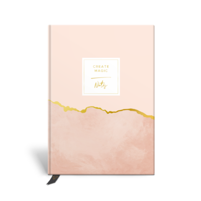 Original Life Personalised Notebook Marble Blush Pink Gold Foil