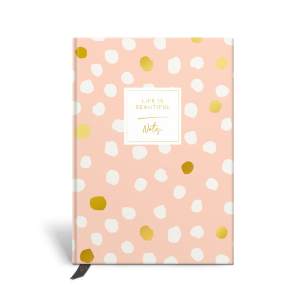 Original Life Personalised Notebook Polka Dot Blush Pink Black Gold Foil Sustainable Eco Friendly