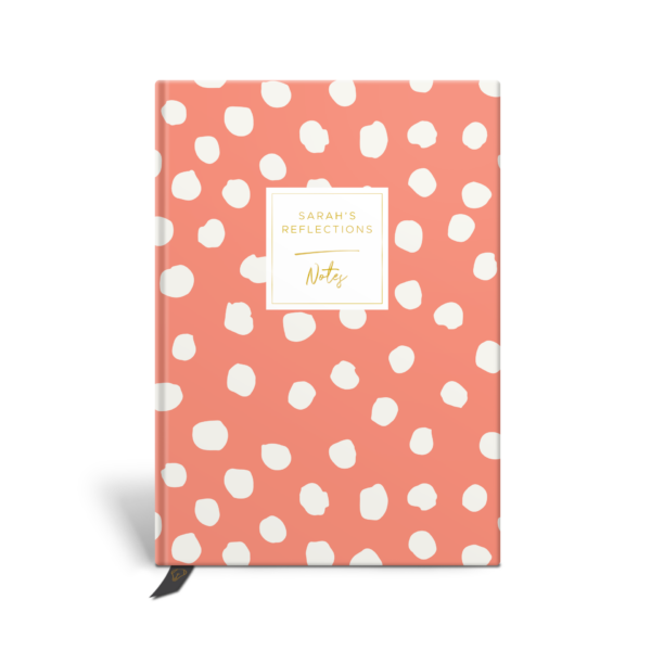 Original Life Personalised Notebook Polka Dot Coral Gold Foil Sustainable Eco Friendly