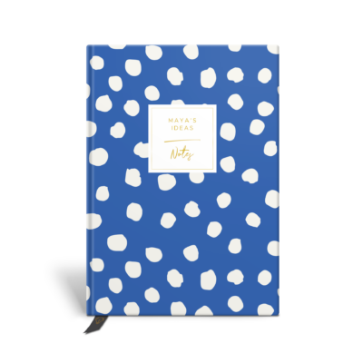 Original Life Personalised Notebook Polka Dot Cornflower Blue Gold Foil Sustainable Eco Friendly