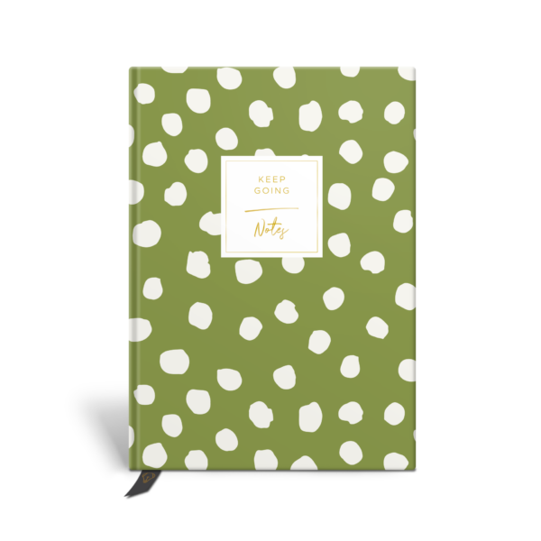 Original Life Personalised Notebook Polka Dot Meadow Green Gold Foil Sustainable Eco Friendly