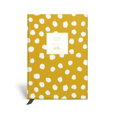 Original Life Personalised Notebook Polka Dot Mustard Yellow Gold Foil Sustainable Eco Friendly