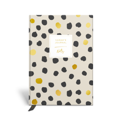 Original Life Personalised Notebook Polka Dot Stone Charcoal Black Gold Foil Sustainable Eco Friendly