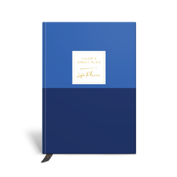 Original Life Personalised Planner Dream Goal Productivity Wellness Wellbeing Duet Cornflower Blue Gold Foil Sustainable Eco Friendly