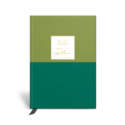 Original Life Personalised Planner Dream Goal Productivity Wellness Wellbeing Duet Meadow Green Gold Foil Sustainable Eco Friendly
