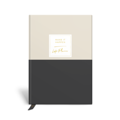 Original Life Personalised Planner Dream Goal Productivity Wellness Wellbeing Duet Stone Charcoal Black Gold Foil Sustainable Eco Friendly