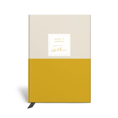 Original Life Personalised Planner Dream Goal Productivity Wellness Wellbeing Duet Stone Mustard Yellow Gold Foil Sustainable Eco Friendly