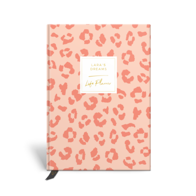 Original Life Personalised Planner Dream Goal Productivity Wellness Wellbeing Leopard Print Blush Pink Gold Foil Sustainable Eco Friendly