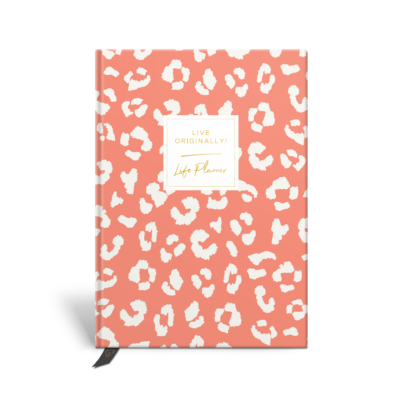 Original Life Personalised Planner Dream Goal Productivity Wellness Wellbeing Leopard Print Coral Gold Foil Sustainable Eco Friendly
