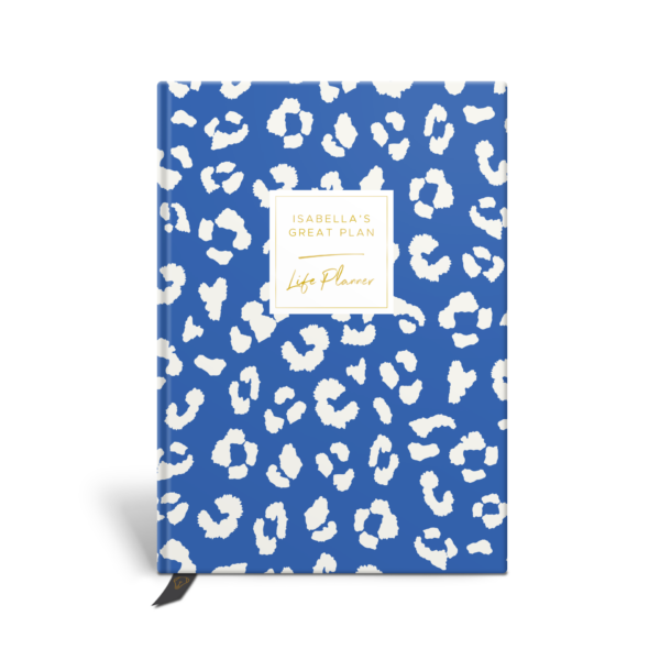 Original Life Personalised Planner Dream Goal Productivity Wellness Wellbeing Leopard Print Cornflower Blue Gold Foil Sustainable Eco Friendly