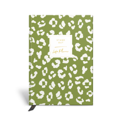 Original Life Personalised Planner Dream Goal Productivity Wellness Wellbeing Leopard Print Meadow Green Gold Foil Sustainable Eco Friendly
