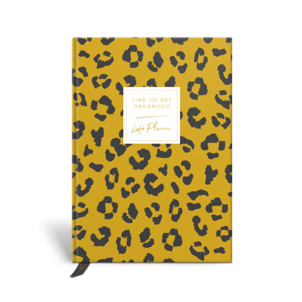 Original Life Personalised Planner Dream Goal Productivity Wellness Wellbeing Leopard Print Mustard Yellow Gold Foil Sustainable Eco Friendly