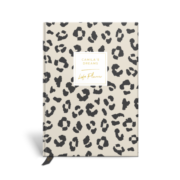 Original Life Personalised Planner Dream Goal Productivity Wellness Wellbeing Leopard Print Stone Charcoal Black Gold Foil Sustainable Eco Friendly