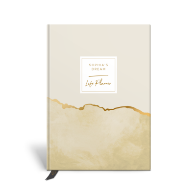 Original Life Personalised Planner Goal Dream Productivity Wellness Wellbeing Marble Mustard Yellow Gold Foil Sustainable Eco friendly