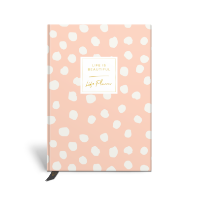 Original Life Personalised Planner Polka Dot Blush Pink Gold Foil Sustainable Eco Friendly