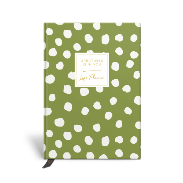 Original Life Personalised Planner Polka Dot Meadow Green Gold Foil Sustainable Eco Friendly
