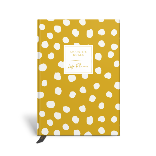 Original Life Personalised Planner Polka Dot Mustard Yellow Gold Foil Sustainable Eco Friendly