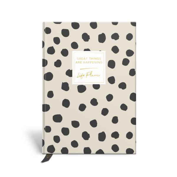 Original Life Personalised Planner Polka Dot Stone Charcoal Black Gold Foil Sustainable Eco Friendly