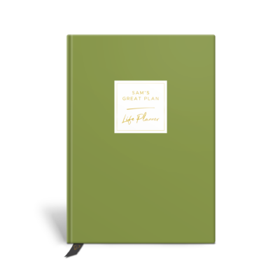 Original Life Personalised Planner Dream Goal Productivity Wellness Wellbeing Solo Plain Meadow Green Gold Foil Sustainable Eco Friendly