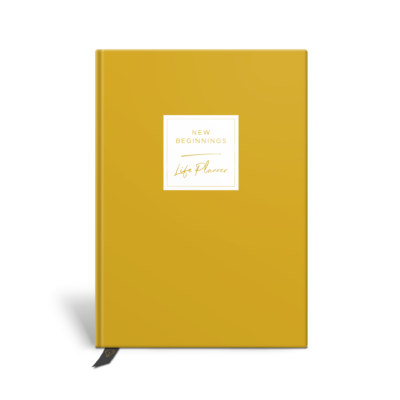 Original Life Personalised Planner Dream Goal Productivity Wellness Wellbeing Solo Plain Mustard Yellow Gold Foil Sustainable Eco Friendly