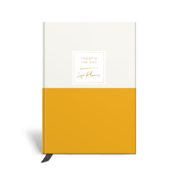 Original Life Personalised Planner Dream Goal Productivity Wellness Wellbeing Duet Mustard Gold Foil Sustainable Eco Friendly
