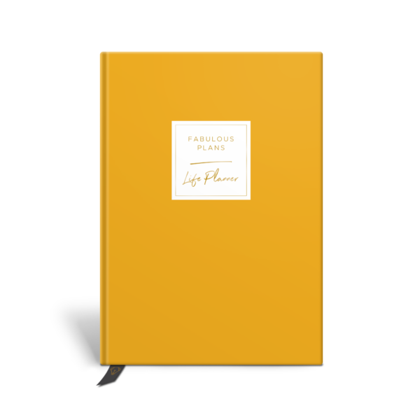 Original Life Personalised Planner Dream Goal Productivity Wellness Wellbeing Solo Plain Mustard Gold Foil Sustainable Eco Friendly
