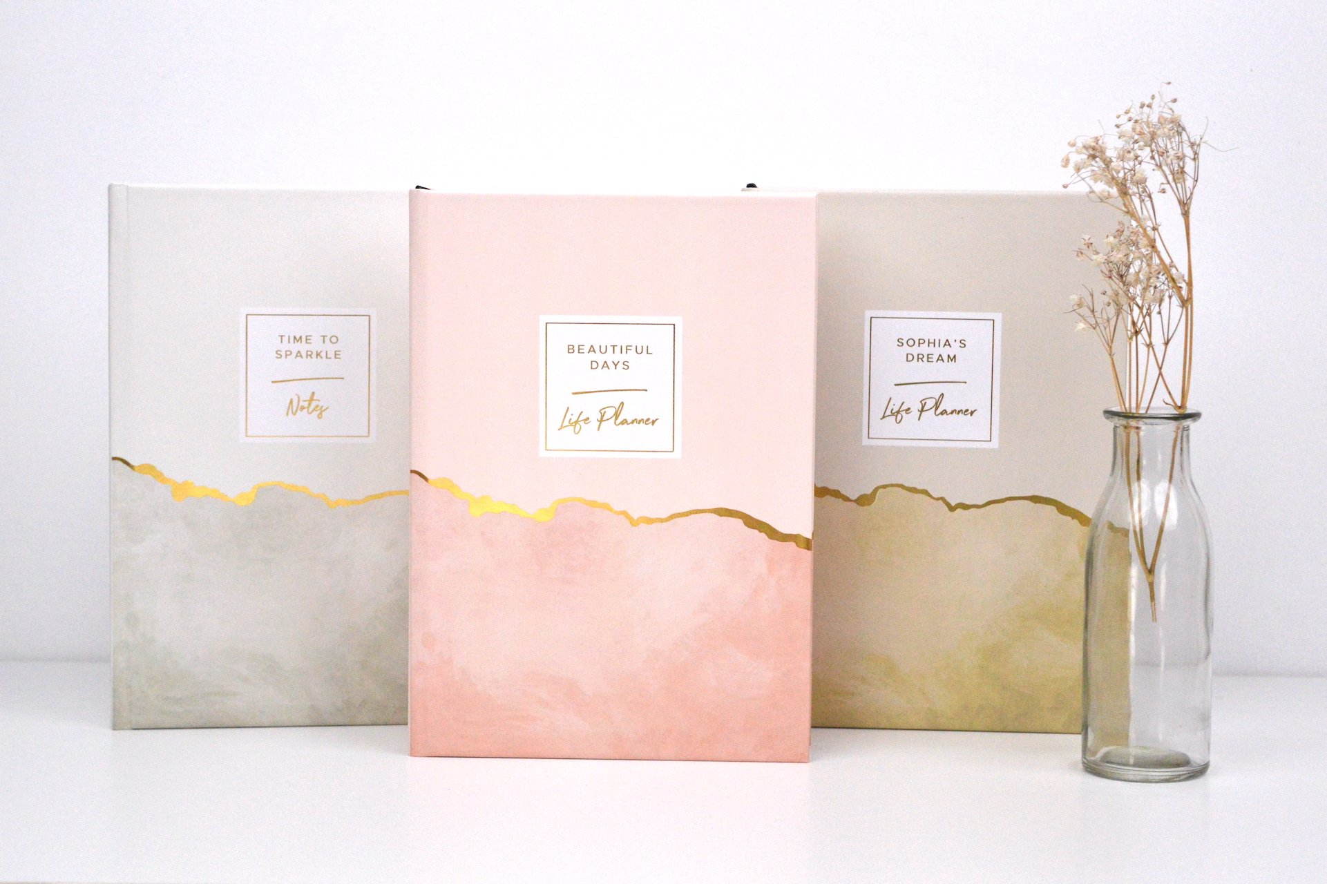 Original Life Personalised Notebook Planner Goal Dream Productivity Marble Collection Gold Foil